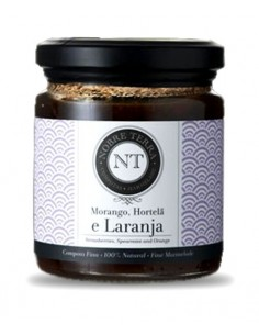 Mermelada de Fresa, Menta y Naranja 250gr Nobre Terra - Mermelada Fina 100% Natural